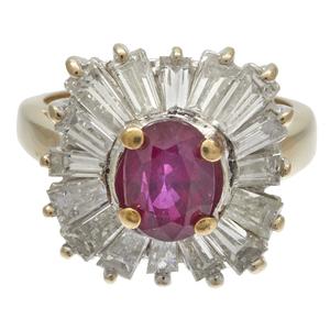 Ruby, Diamond, 18k Yellow Gold Ballerina Ring