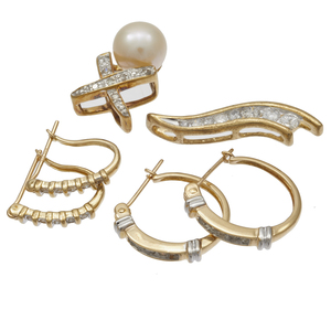 Collection of Diamond, Cultured Pearl, 10k Jewelry