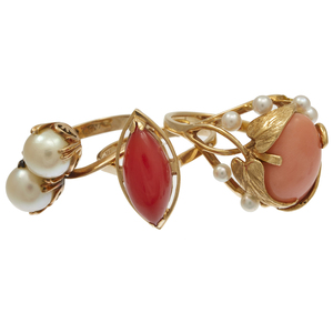 Collection of Coral, Cultured Pearl, 14k Yellow Gold Rings