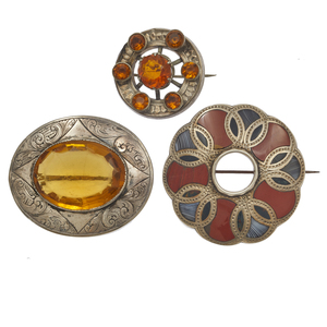 Collection of Victorian Scottish Agate, Glass, Sterling Brooches