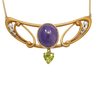 Arts & Crafts Style Amethyst, Peridot, Pearl, 14k Necklace