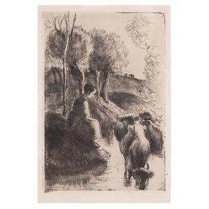 Camille Pissarro, Cowherd, At Water's Edge