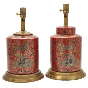 Pair Cloisonne Enamel Table Lamps
