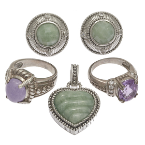 Collection of  Judith Ripka Jade, Amethyst Sterling Silver Jewelry