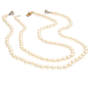 Collection of Two Cultured Pearl, 14k, Sterling Silver Necklaces