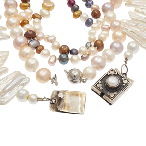 Collection of Three Freshwater Pearl, Sterling Silver Necklaces