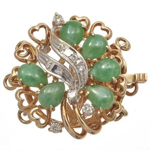 Jade, Diamond, 14k Clasp