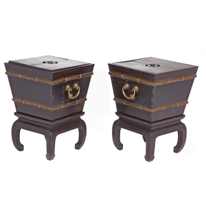Pair of Rosewood Ice Chests and Stands