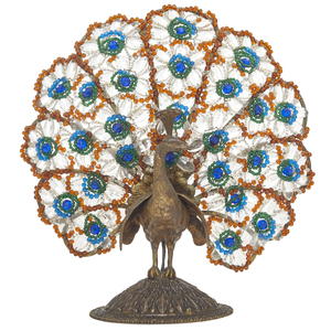 Bohemian Glass Peacock Form Lamp