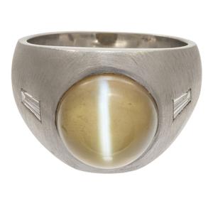 Cat's Eye Chrysoberyl, Diamond, Platinum Ring