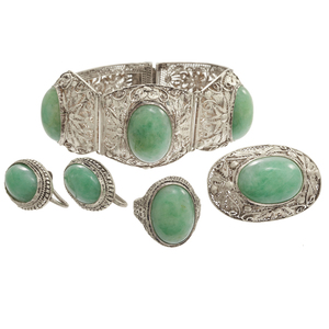 Chinese Jade, Silver Filigree Jewelry Suite