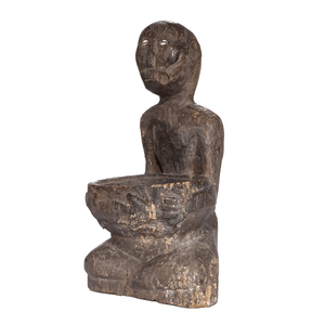 Wooden Male Figure with Lizard, Bontoc
