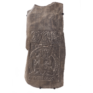 Tibetan Buddhist Carved Stone Panel, 17th Century