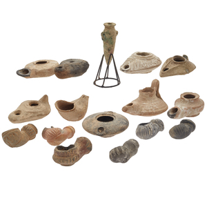 Group of Roman, Helenistic, and Byzantine Ceramic Oil Lamps
