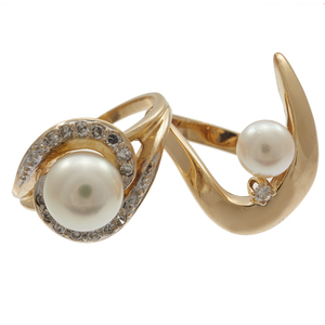 Collection of Two Diamond, Cultured Pearl, 14k Rings