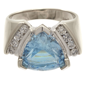 Aquamarine, Diamond, 14k White Gold Ring