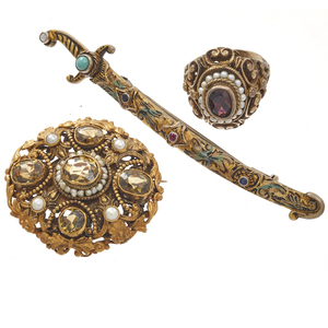 Collection of Austro-Hungarian Gilt jewelry Items