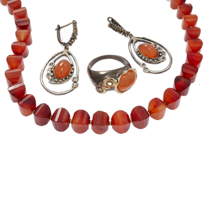 Carnelian, Sterling Silver Jewelry Suite