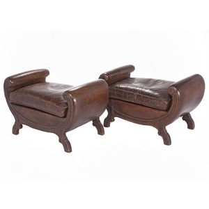 Pair Classical Leather Ottomans