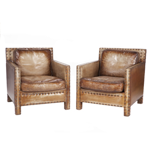 Pair Buffalo Leather Club Chairs