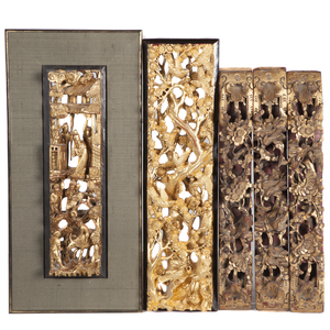 Group of Six Gilt Lacquered Architectural Fragments, 19th Century