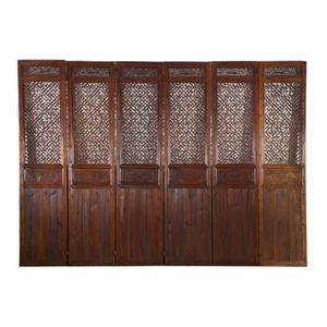Massive Six-Panel Carved Wood Folding Screen, Late 19th C.