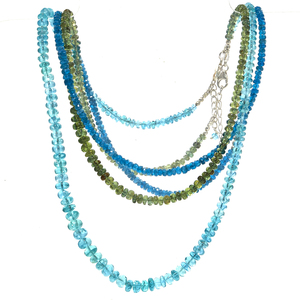 Collection of Apatite, Sterling Silver Necklaces