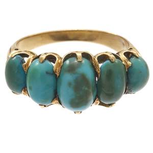 Victorian Turquoise, 15k Yellow Gold Ring