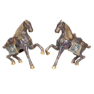 Pair of Cloisonne Enamel Horses, 20th Century