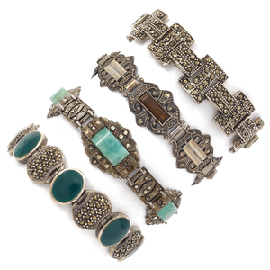 Collection of Art Deco Marcasite, Silver Bracelets