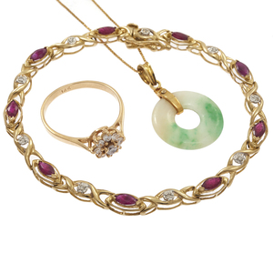Collection of Diamond, Ruby, Jade Gold Jewelry Items