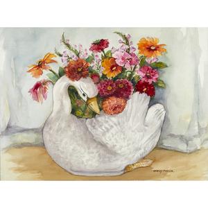 Nancy Martin, Zinnias in a Swan Vase