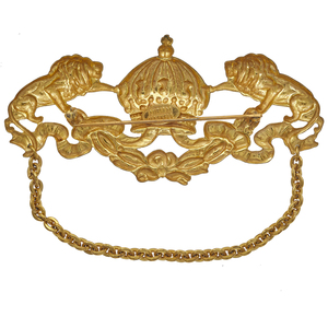 Mariam Haskell Lion and Crown Brooch