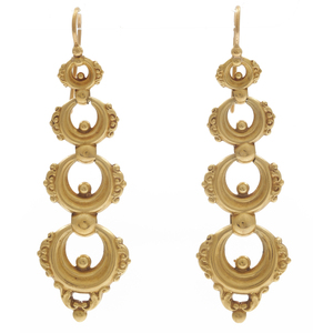 Pair of Victorian 18k Yellow Gold Earrings