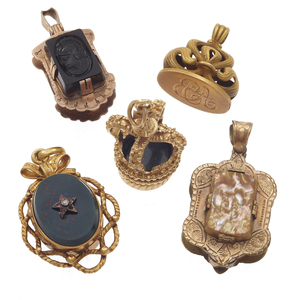 Collection of Five Victorian Hardstone Lockets and Fobs
