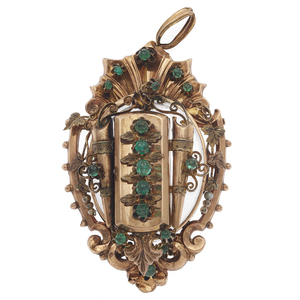 Victorian Emerald, 9k Rose Gold Locket Pendant