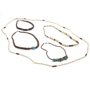 Collection of Five Native American Heishi Bead Necklaces
