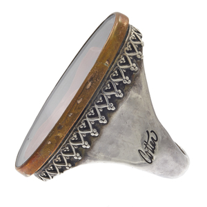 Jim Cotter Coral, Cultured Pearl, Sterling Ring