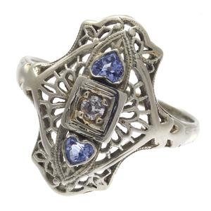 Art Deco Diamond, Sapphire, 14k Filigree Ring