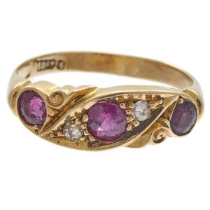Victorian Diamond, Ruby, 18k Yellow Gold Ring