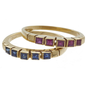 Collection of Two Ruby, Sapphire, 18k Stacking Rings