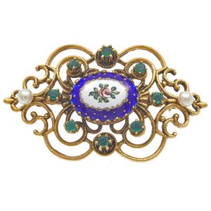Swiss Enamel, Chalcedony, Cultured Pearl, 14k Pin