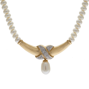 Diamond, Fresh Water Cultured Pearl, 14k Necklace