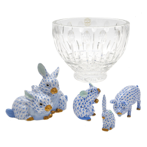 Four Herend Animal Figures and a Godinger Crystal Bowl