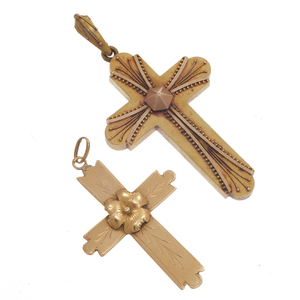 Collection of Two Victorian 14k Crosses