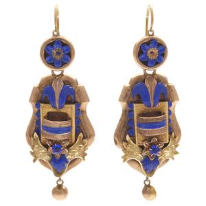 Pair of Victorian Enamel, 10k, Day and Night Earrings