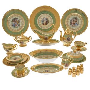 Czechoslovakian 24k Gilt and Porcelain Dinner Service