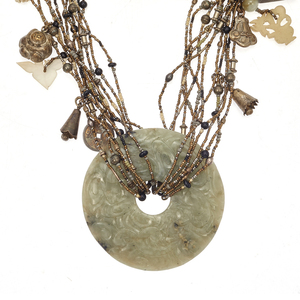 Jade, Serpentine, Glass, Silver, Gilt Metal Necklace