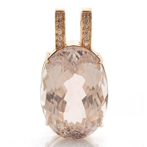 Kunzite, Diamond, 14k Yellow Gold Pendant