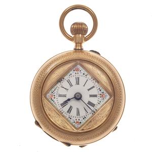 Ladies 14k Rose Gold Demi-Hunter Pocket Watch